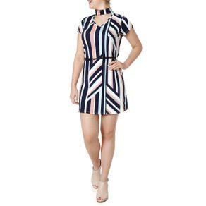 Vestido Feminino Autentique Bege/marinho M