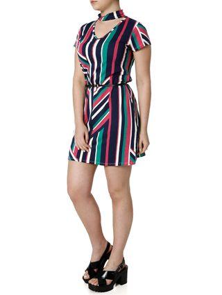 Vestido Feminino Autentique Rosa/marinho