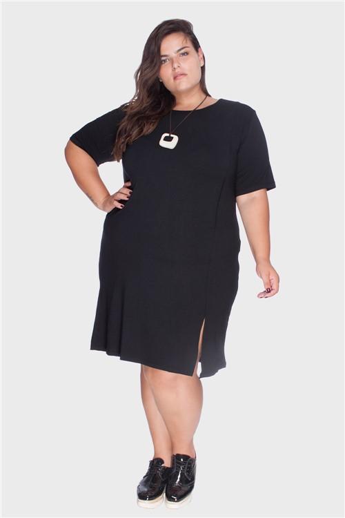 Vestido Frente Recorte a Fio Plus Size Preto-46/48