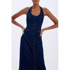 Vestido Frente Unica Jeans Jeans Escuro - 34