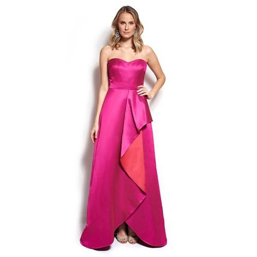 Vestido Gorgeous Tomara que Caia com Babados Badgley Mischka - Vermelho/Pink