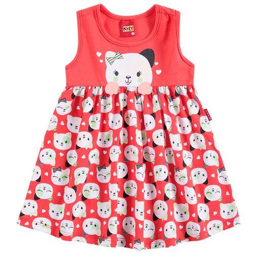 Vestido Infantil Gatinha Vermelho - Kyly P