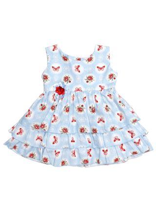 Vestido Infantil para Bebê Menina - Azul Claro