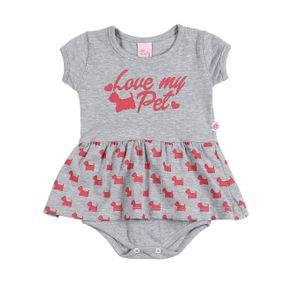 Vestido Infantil para Bebê Menina - Cinza G