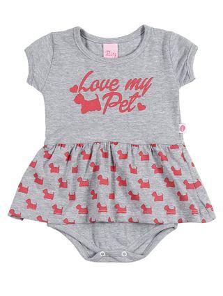 Vestido Infantil para Bebê Menina - Cinza