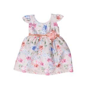 Vestido Infantil para Menina - Bege/coral 1
