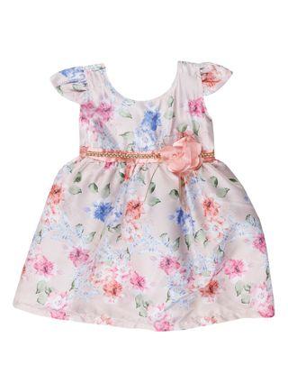 Vestido Infantil para Menina - Bege/coral