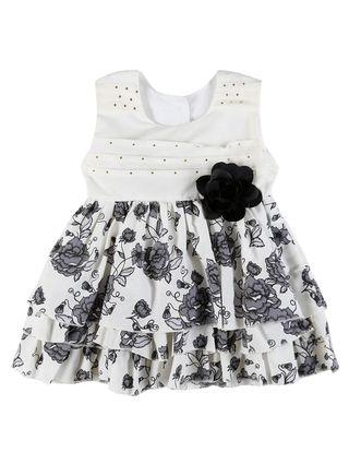 Vestido Infantil para Menina - Bege/preto