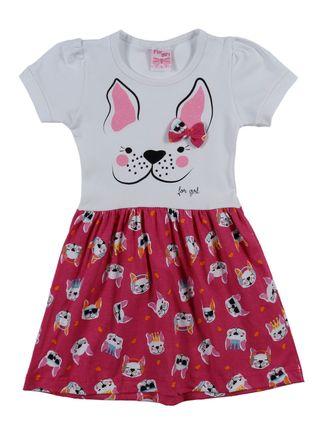 Vestido Infantil para Menina - Branco/rosa