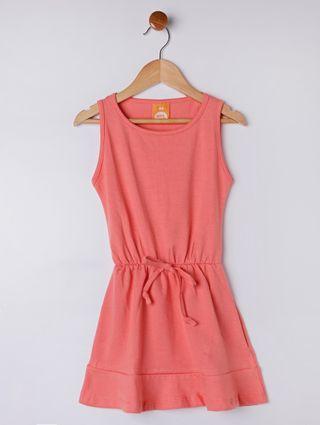 Vestido Infantil para Menina - Coral/cinza