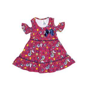Vestido Infantil para Menina - Rosa/marinho 1