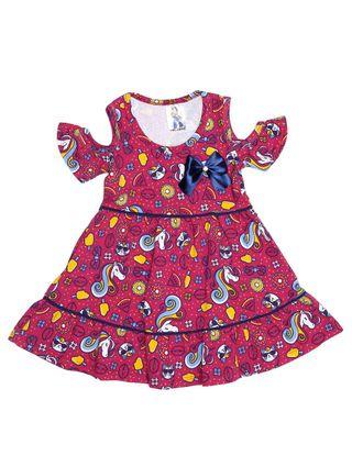 Vestido Infantil para Menina - Rosa/marinho