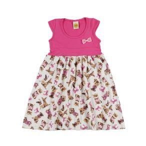 Vestido Infantil para Menina - Rosa Pink/bege 4