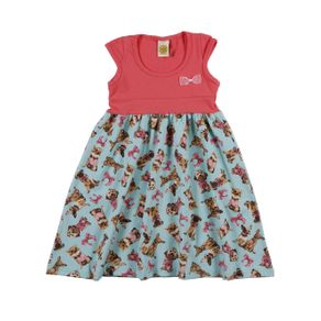 Vestido Infantil para Menina - Rosa/verde 8