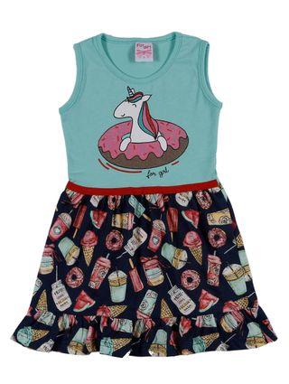 Vestido Infantil para Menina - Verde/azul Marinho