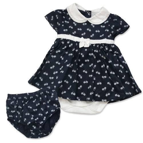 Vestido Infantil Tricoline Body Bicicletinha Marinho - Noruega Baby