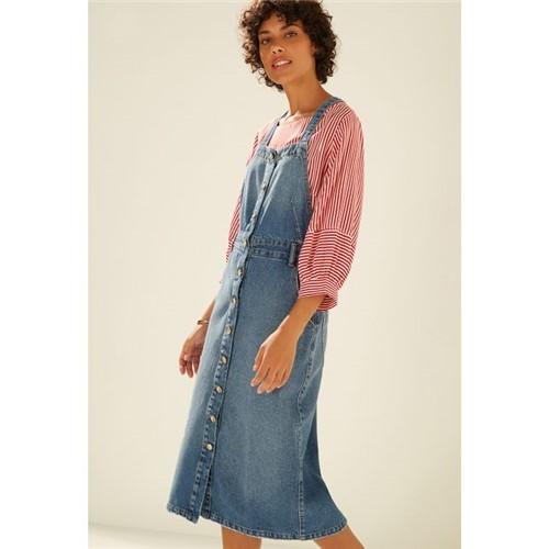 Vestido Jardineira Jeans AZUL MEDIO/P