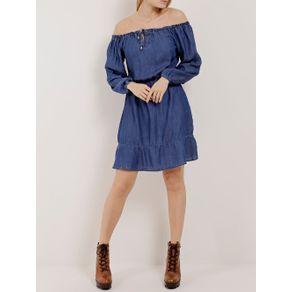 Vestido Jeans Ciganinha Feminino Azul GG