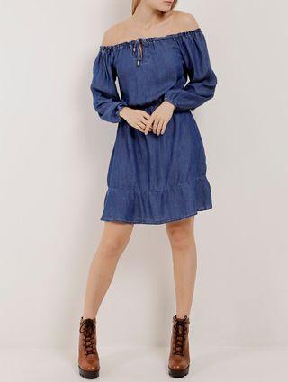 Vestido Jeans Ciganinha Feminino Azul