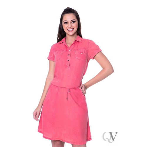 Vestido Jeans Coral Bolsos Frontais - Hapuk - 34