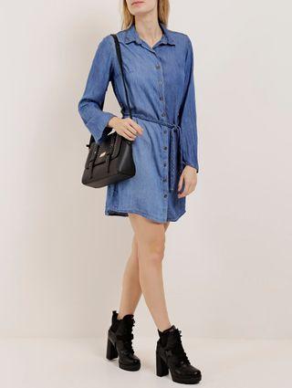 Vestido Jeans Feminino Azul Claro