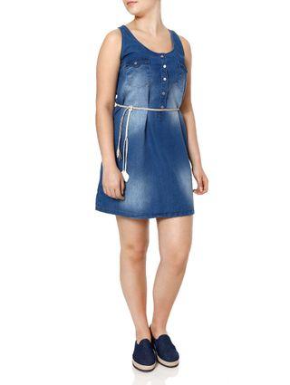 Vestido Jeans Feminino Azul