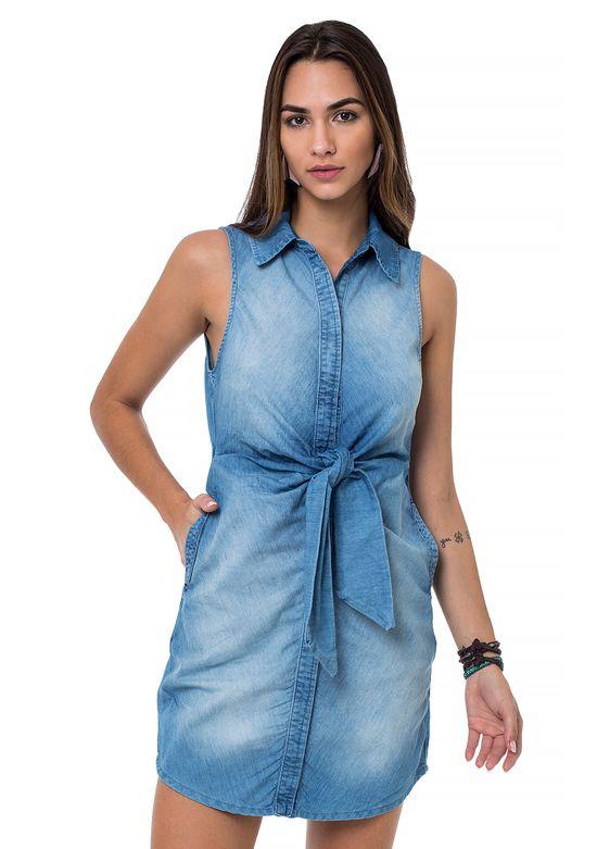 Vestido Jeans Frente C/ Laço