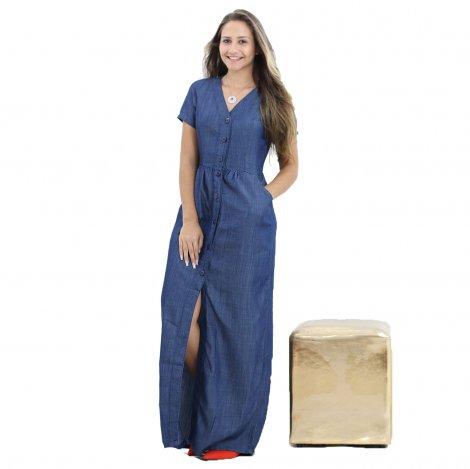 Vestido Jeans Longo Decote V Fenda Frontal - Jeans 700035