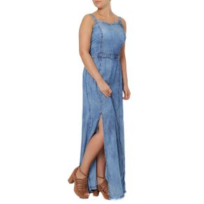 Vestido Jeans Longo Feminino Azul M