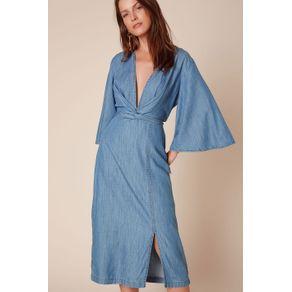 Vestido Jeans Quimono Jeans Azul Claro - 36