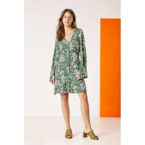 Vestido Jersey Floral Bicolor Est Floral Bicolor Verde - 34