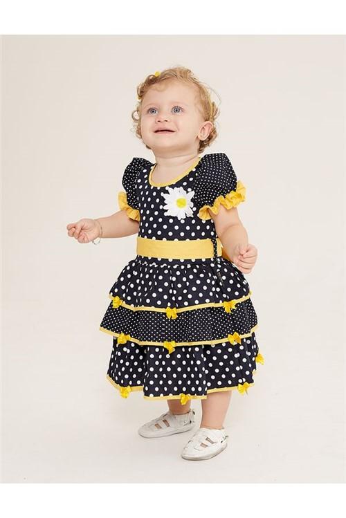 Vestido Junino Bebe Bolinha M - Marinho