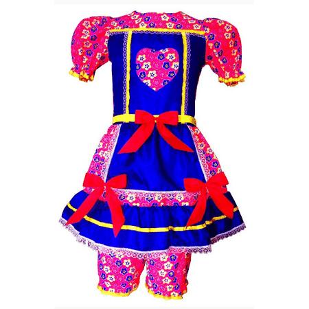 Vestido Junino Simples Mod.882 C/ Bermuda TAM.02