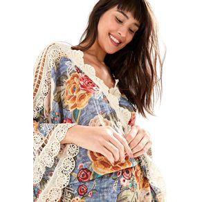 Vestido Kimono com Guipire Denin - P