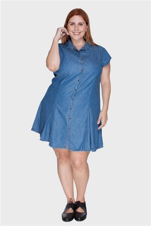 Vestido Liocel Recortes Plus Size Azul-50