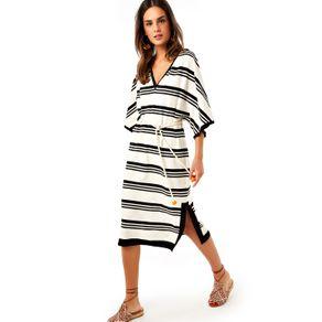 Vestido Listras com Cinto Off White/ Preto - P