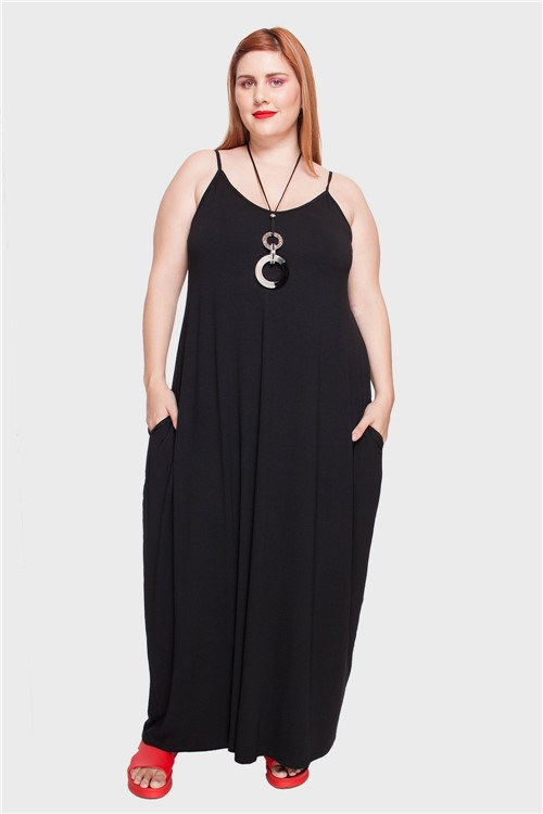 Vestido Longo Alça Fina Plus Size Preto-46/48
