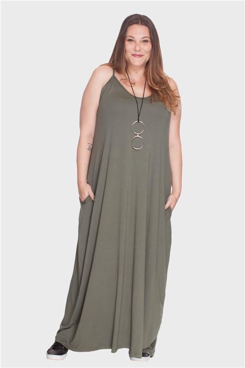Vestido Longo Alça Fina Plus Size Verde-50/52