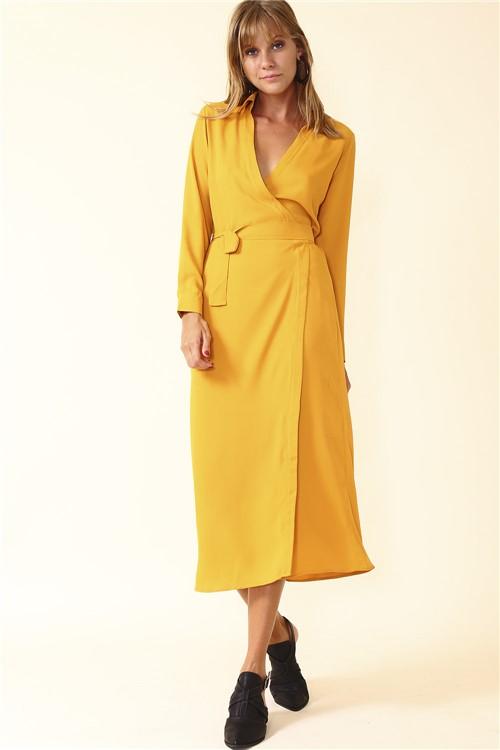 Vestido Longo Amarração - Amarelo Tamanho: P