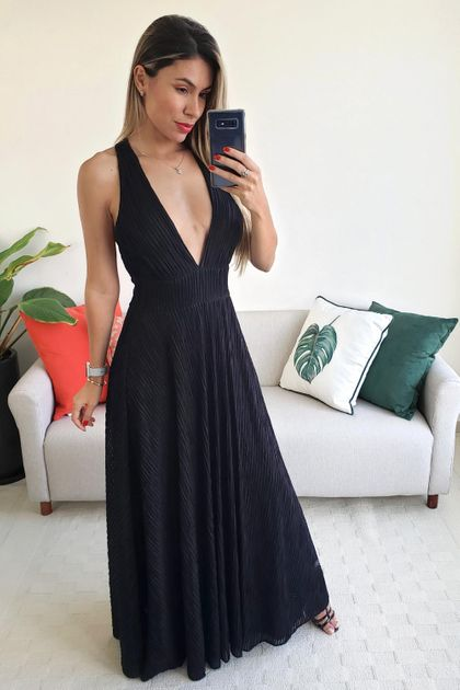 Vestido Longo Babadotop Plissado Shard - Preto