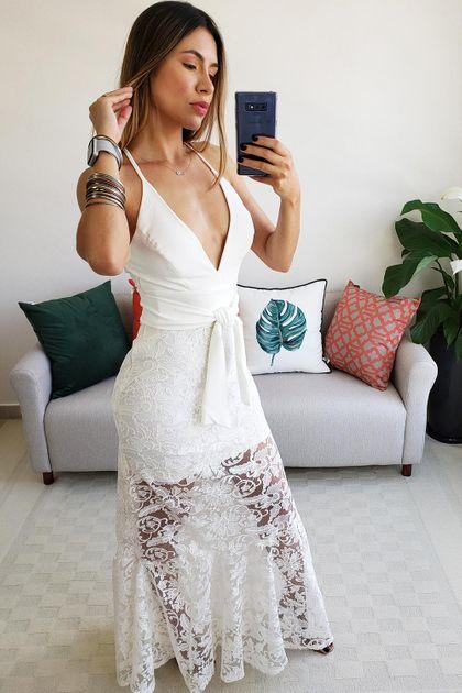 Vestido Longo Colcci Tule Bordado - Off White