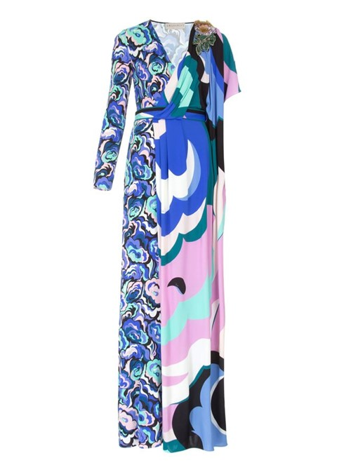 Vestido Longo Decote V Estampado Azul Tamanho 38