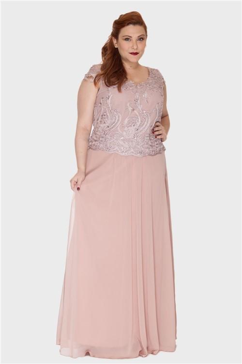Vestido Longo Detalhe Bordado Plus Size ROSÊ-46