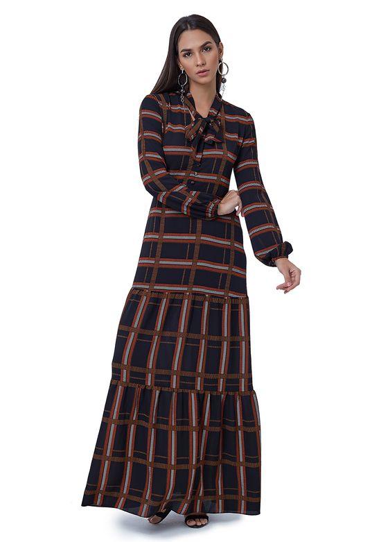 Vestido Longo Estampado com Mangas