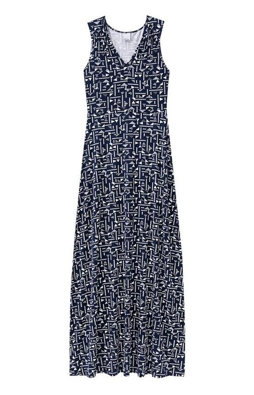Vestido Longo Estampado Malwee Azul Escuro - G