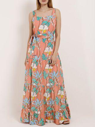 Vestido Longo Feminino Autentique Salmão