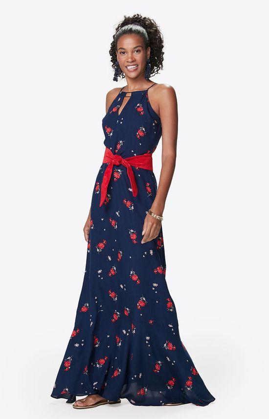Vestido Longo Floral Malwee Azul Escuro - P