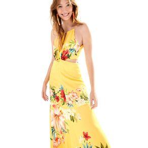 Vestido Longo Floralia Est Floralia_Amarelo Pinoli - P