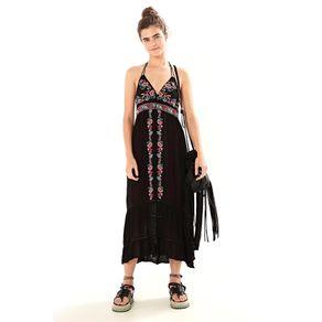 Vestido Longo Frente Única Preto - M