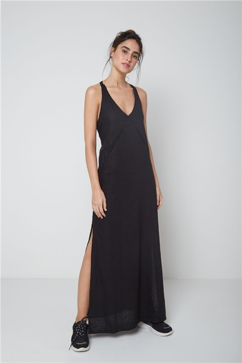 Vestido Longo Linho Recortes Preto - P